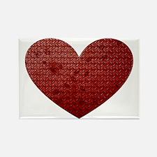 Diamond Plate Heart Rectangle Magnet