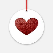Diamond Plate Heart Ornament (Round)