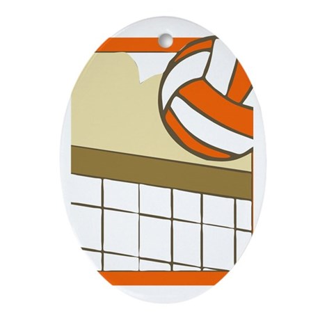 VOLLEYBALL {14} : orange Ornament (Oval)