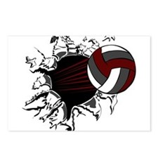 VOLLEYBALL {16} : crimson,whi Postcards (Package o