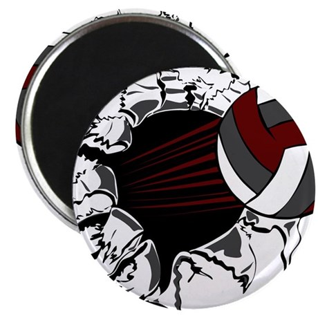 """VOLLEYBALL {16} : crimson,whi 2.25"""" Magnet (100 pa"""