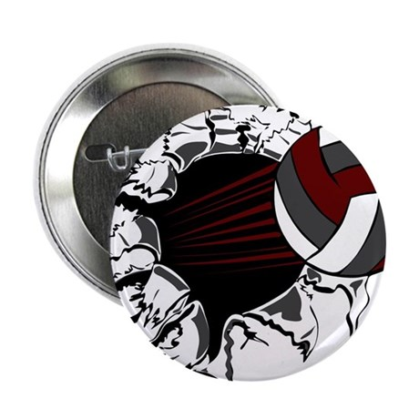 "VOLLEYBALL {16} : crimson,whi 2.25"" Button"
