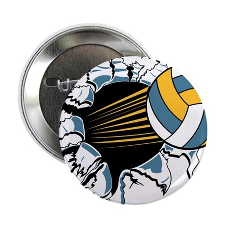 "VOLLEYBALL {16} : blue,yellow 2.25"" Button"