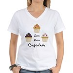 Live Love Cupcakes Women's V-Neck T-Shirt