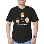 Live Love Cupcakes Men's Fitted T-Shirt (dark)