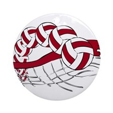 VOLLEYBALL {19} : red Ornament (Round)