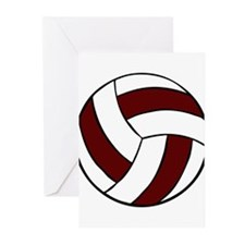 VOLLEYBALL {22} : crimson/whi Greeting Cards (Pk o