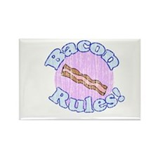 Vintage Bacon Rules Rectangle Magnet