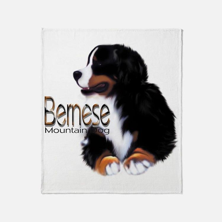 Cute Mountain bernese dog Throw Blanket