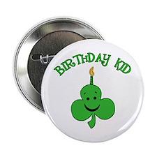 "Birthday Kid with Happy Shamrock 2.25"" Button"