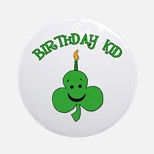 Birthday Kid with Happy Shamrock Ornament (Round)