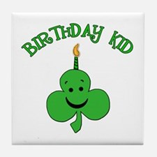 Birthday Kid with Happy Shamrock Tile Coaster