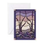Sunset Marsh Stained Glass Greeting Cards (Package