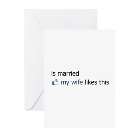 FB Status Married Greeting Cards (Pk of 20)