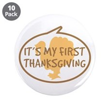 "Baby's First Thanksgiving 3.5"" Button (10 pack)"