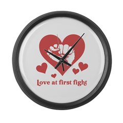 Love at first fight Large Wall Clock