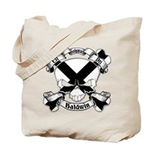 Baldwin Family Crest Skull Tote Bag