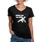 Chicks Dig the Skip Women's V-Neck Dark T-Shirt