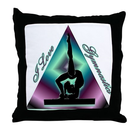 I Love Gymnastics Triangle #2 Throw Pillow