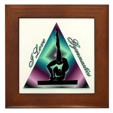 I Love Gymnastics Triangle #2 Framed Tile