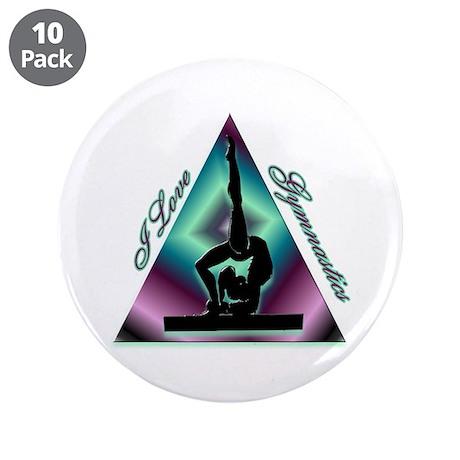 "I Love Gymnastics Triangle #2 3.5"" Button (10 pack"
