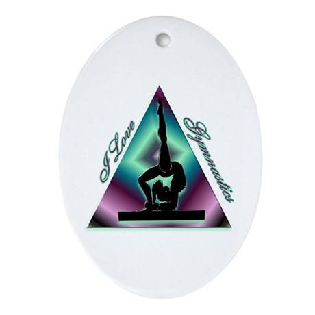 I Love Gymnastics Triangle #2 Ornament (Oval)