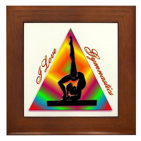 I Love Gymnastics Triangle #4 Framed Tile