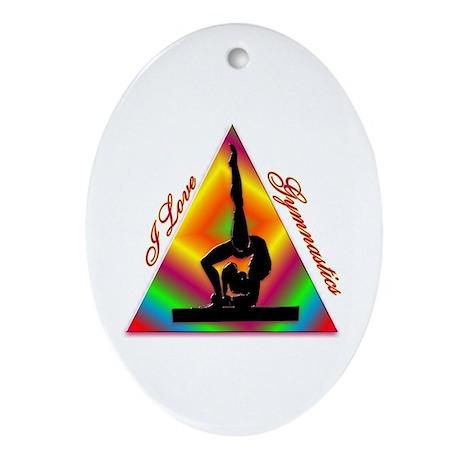 I Love Gymnastics Triangle #4 Ornament (Oval)