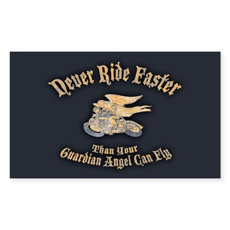 Never Ride Faster Sticker (Rectangle)
