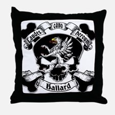 Ballard Family Crest Skull Throw Pillow