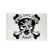 Ballard Family Crest Skull Rectangle Magnet