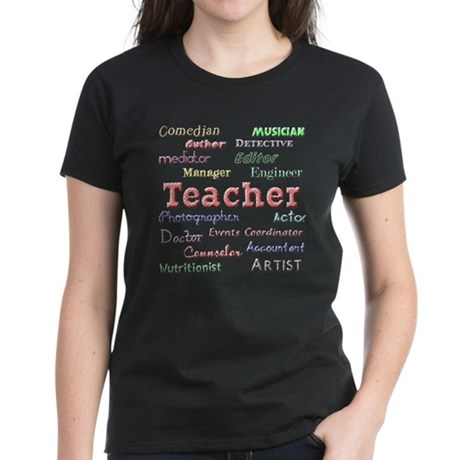 Teachers Wear Many Hats Teach Women's Dark T-Shirt