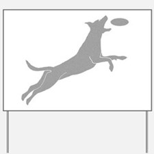 Disc Dog Silhouette Yard Sign