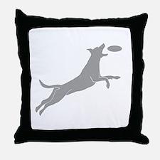 Disc Dog Silhouette Throw Pillow