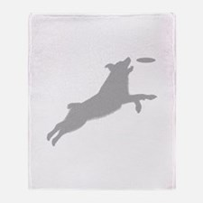 High Flying Disc Dog Silhouet Throw Blanket
