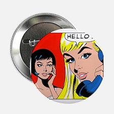 Comic Pop Art Girl Button