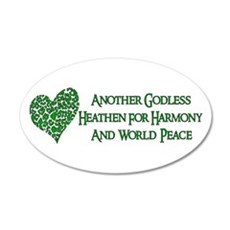 Godless For World Peace 22x14 Oval Wall Peel