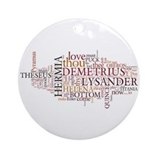 Midsummer Night's Wordle Ornament (Round)
