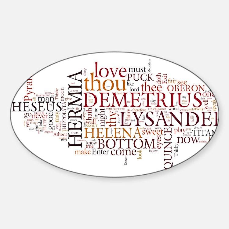 Midsummer Night's Wordle Sticker (Oval)