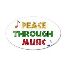 Peace Through Music 22x14 Oval Wall Peel