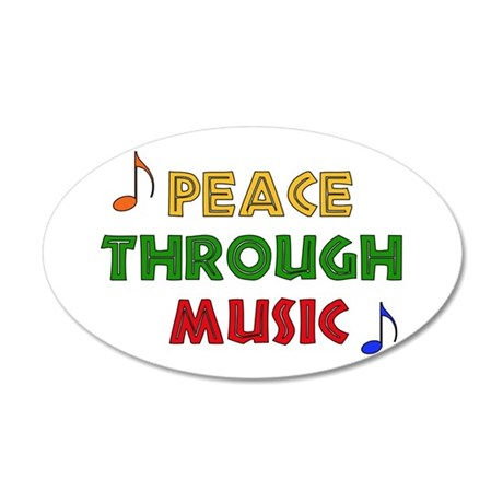 Peace Through Music 22x14 Oval Wall Peel