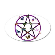 Wiccan Star and Butterflies 22x14 Oval Wall Peel