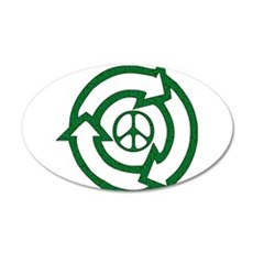 Recycle Peace Sign 22x14 Oval Wall Peel