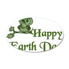 Earth Day Owl 22x14 Oval Wall Peel