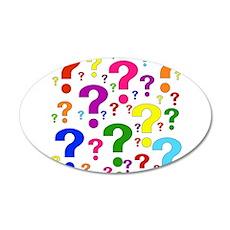 Rainbow Question Marks 22x14 Oval Wall Peel
