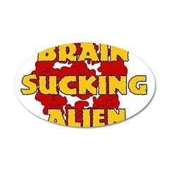 Brain Sucking Alien 22x14 Oval Wall Peel