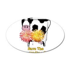 Cheerleading Cow 22x14 Oval Wall Peel