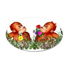 Baby Chimp Love 22x14 Oval Wall Peel