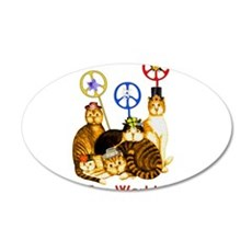 World Peace Cats 22x14 Oval Wall Peel