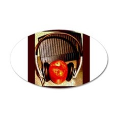 Red Apple With Headphones 22x14 Oval Wall Peel